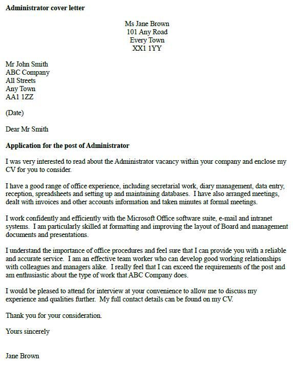 Administrator Cover Letter Example cover letter examples - a good cover letter for resume