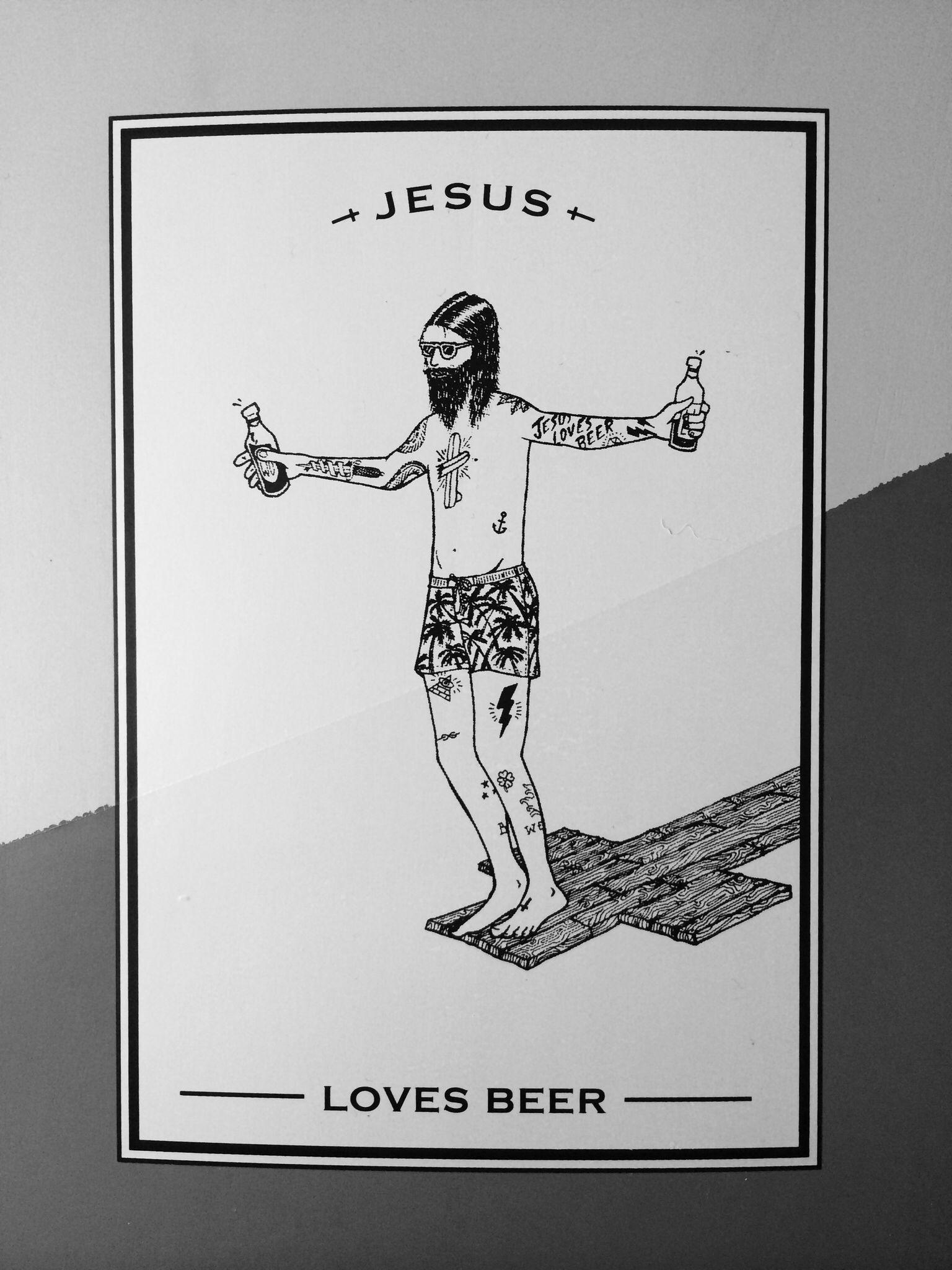 Jesus Loves Beer Poster Design Graphic Design Inspiration Pop
