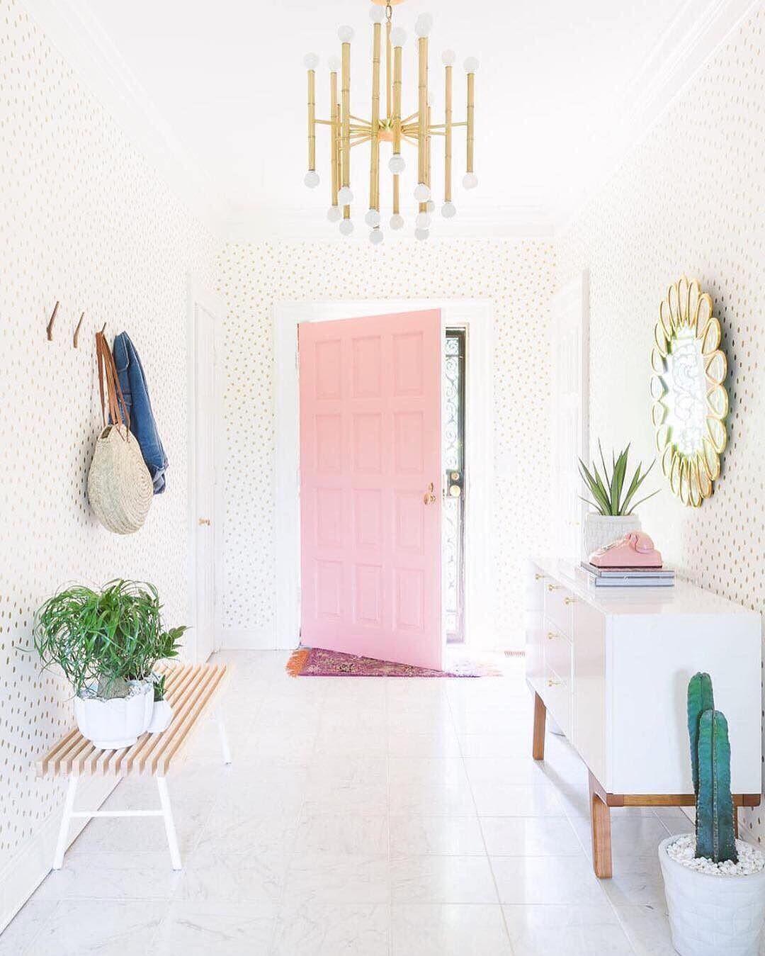Bright hallway wallpaper  Pin by Kate Hash on Design  Detail  Pinterest  Door opener