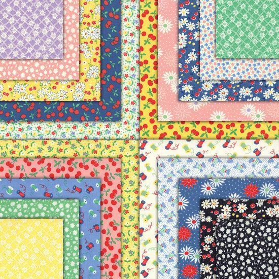 30's PLAYTIME 2014 Mini charm packs (4) Moda Chloe's Closet quilt fabric squares retro modern primitive girls boysbaby calico