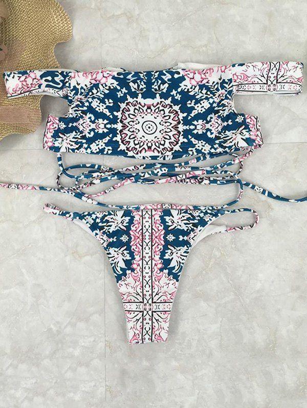 $12.99 Printed Crossover Off The Shoulder Bikini Set - BLUE M