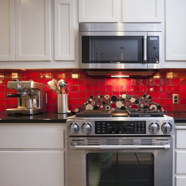 Red Kitchen Backsplash Ideas: Brooklyn Red Subway Tile Kitchen