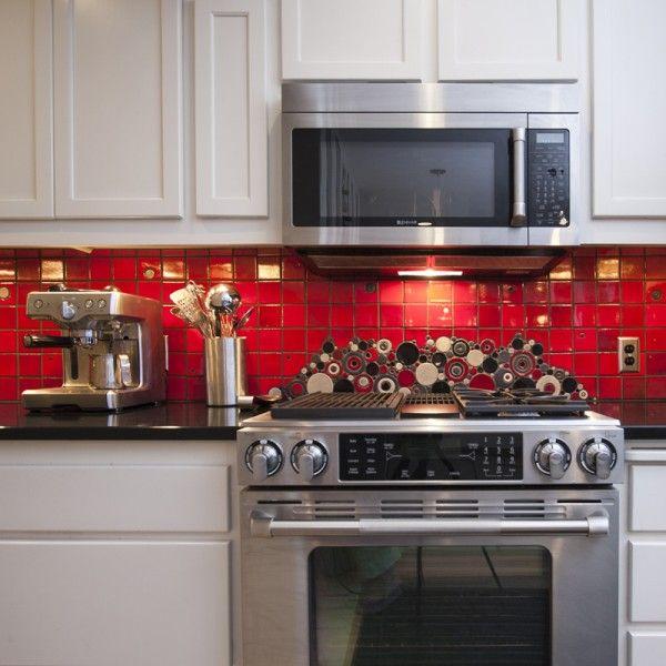 Red Flooring Kitchen: Brooklyn Red Subway Tile Kitchen