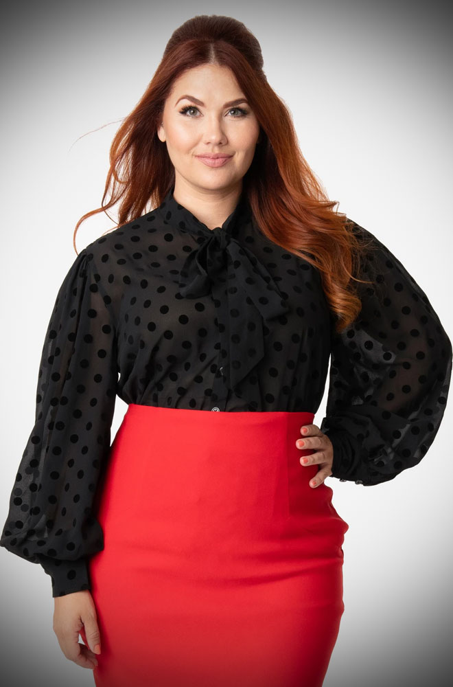 Black Swiss Dot Gwen Blouse At Deadly Is The Female In 2020 Unique Dresses Vintage Brand Clothing Chic Blouses