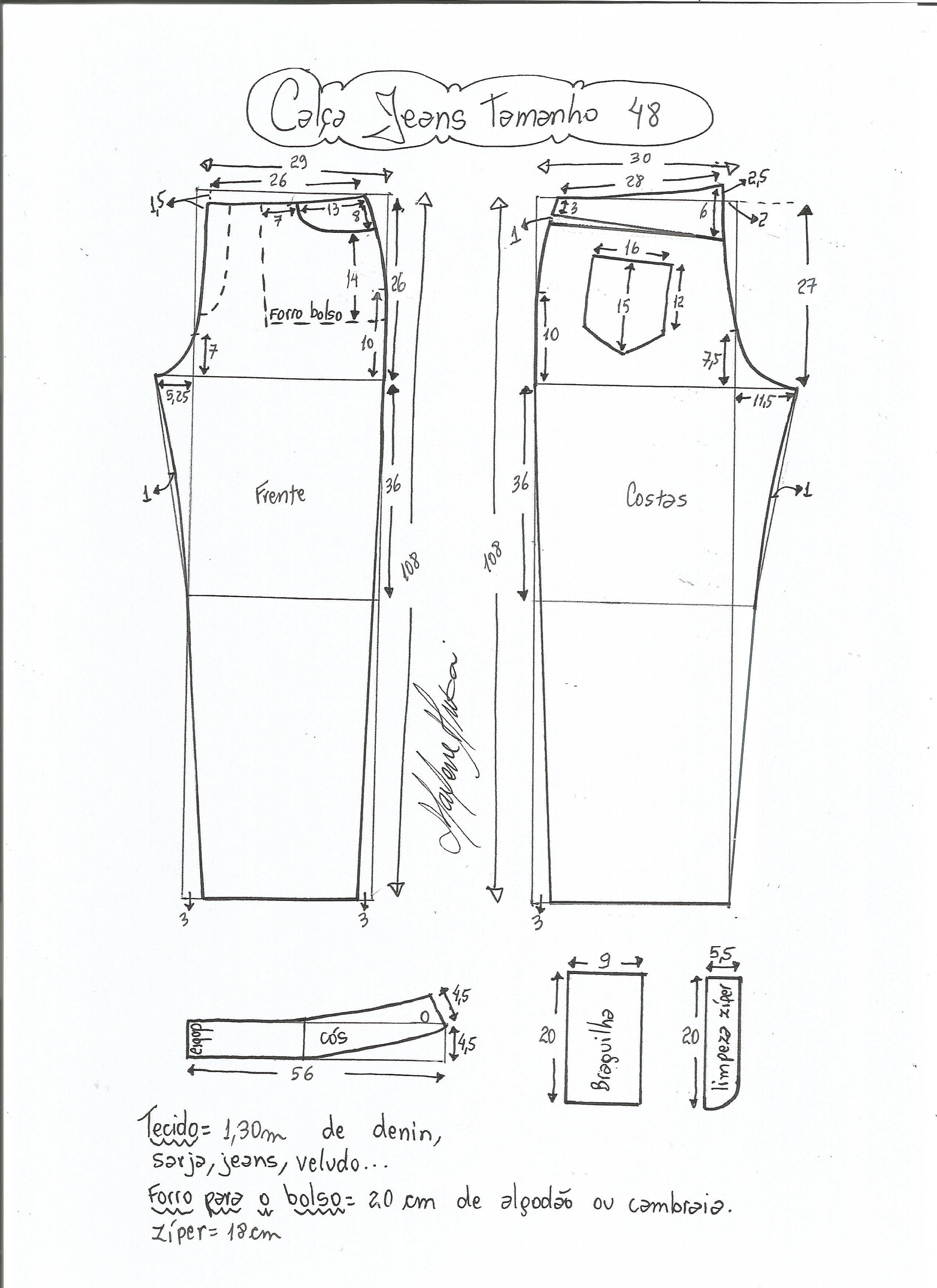 Calça jeans cós médio | Costura, Molde y Patrones
