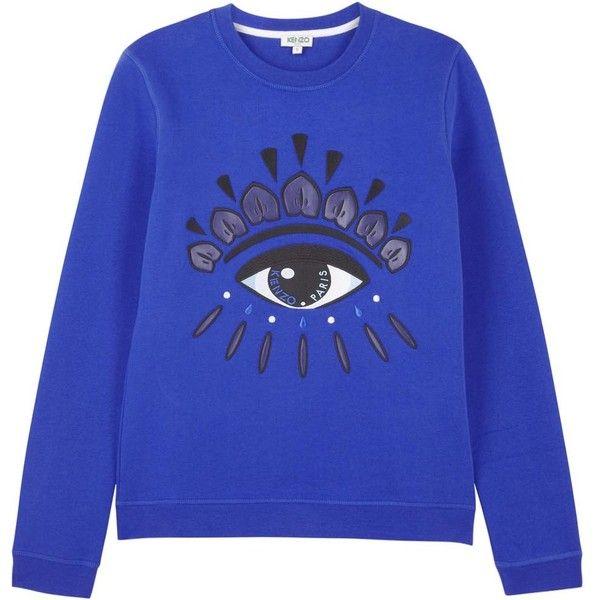 f67872ca KENZO Womens Sweatshirts KENZO Blue Eye Appliqué Cotton Sweatshirt ($285) ❤  liked on Polyvore featuring tops, hoodies, sweatshirts, sweaters, jumpers,  ...