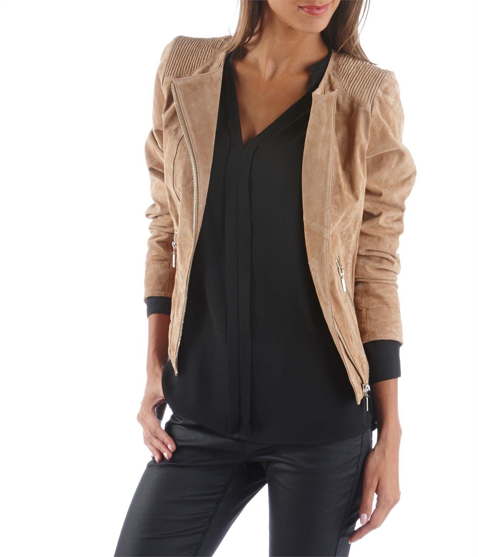 Veste en croute de cuir marron femme