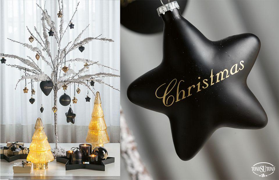 Albero Di Natale Nero E Oro.Natale Tonosutono Albero Di Natale Oro E Nero Con Addobbi In Vetro