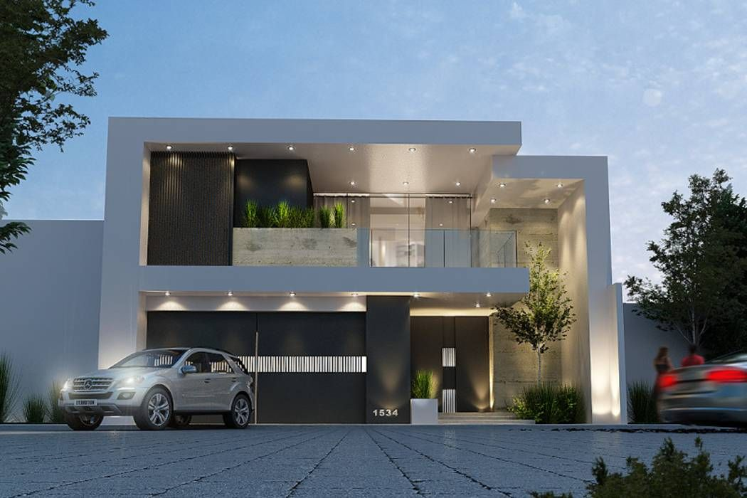 Fachada principal casas de estilo por mstudio for Casa villa decoracion exterior fachada