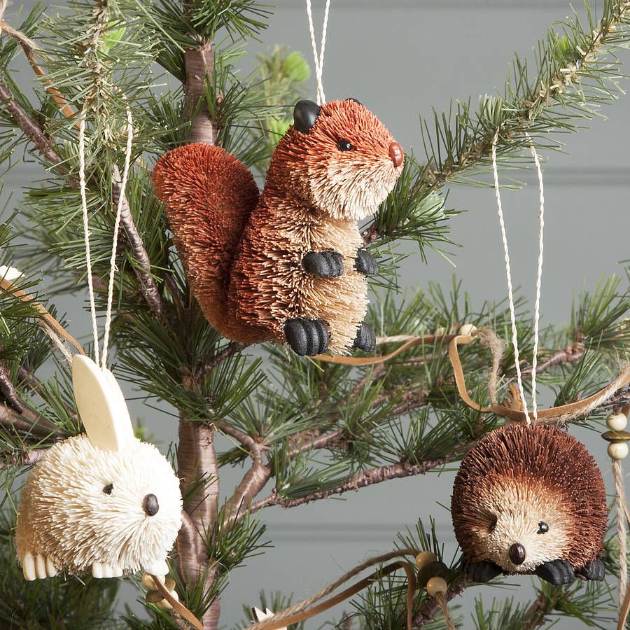 bristle woodland animal christmas decoration by the contemporary home notonthehighstreetcom sooooo cute - Animal Christmas Decorations