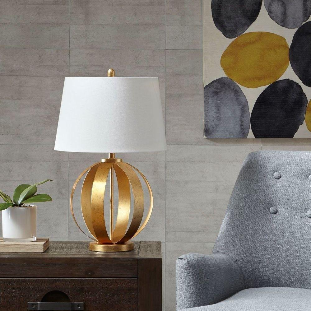 Luxury Unique Warren Gold Open Round Metal Table Lamp 27