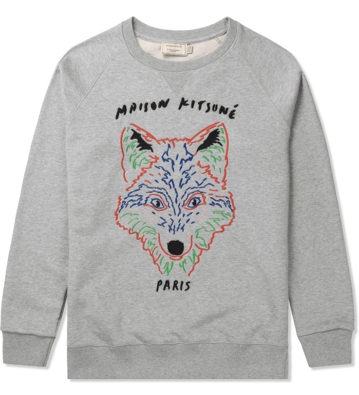 Maison Kitsune Grey Melange 3d Fox Crewneck Sweater Hbx Maison Kitsune Crew Neck Sweater Kitsune [ 1540 x 1400 Pixel ]