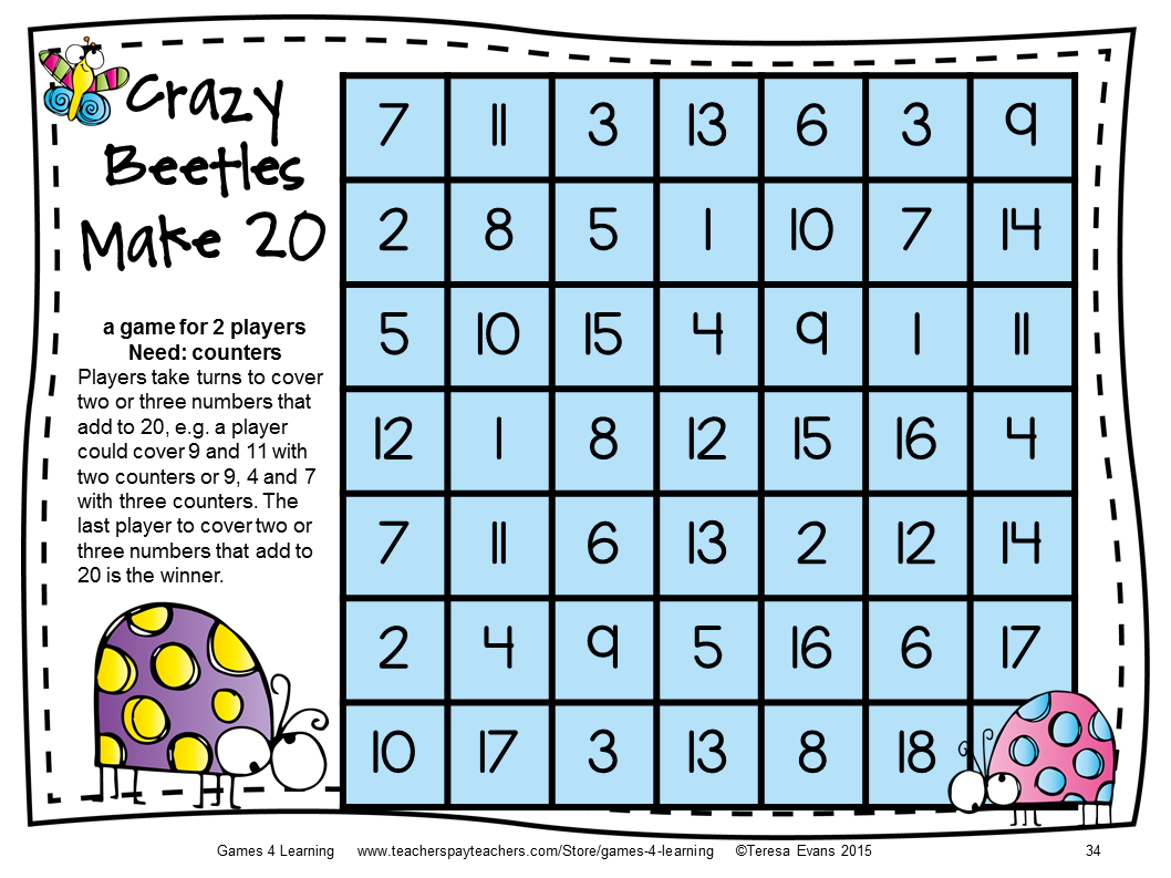Insects Addition Board Games: 27 Addition Games for Addition Facts ...