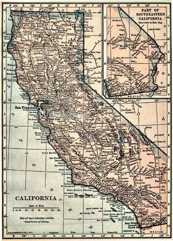 California map digital download for high resolution by workbox