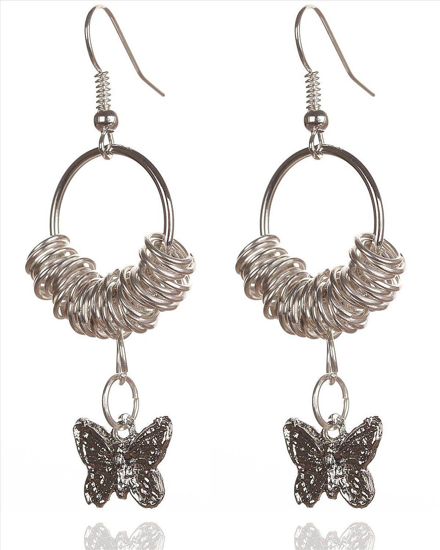 Buy Zephyrr Girls Hook Fashion Earrings Casual Wear Silver Rings ...