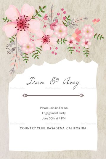Pink Floral Engagement Announcement Card Template Invitation Card