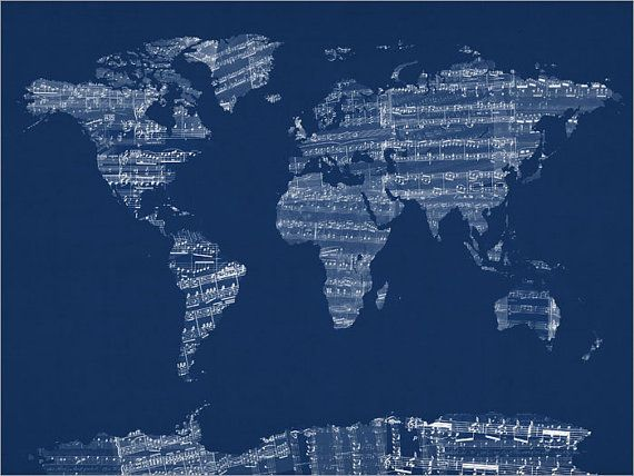 Map of the world map from old sheet music art print 784 sheet michael tompsett sheet music world map in blue canvas art canvas prints at hayneedle gumiabroncs Gallery