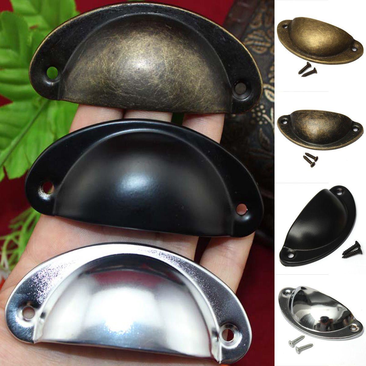 12pcs bouton porte tiroir poignee meuble coquille armoire for Poignees de porte de cuisine