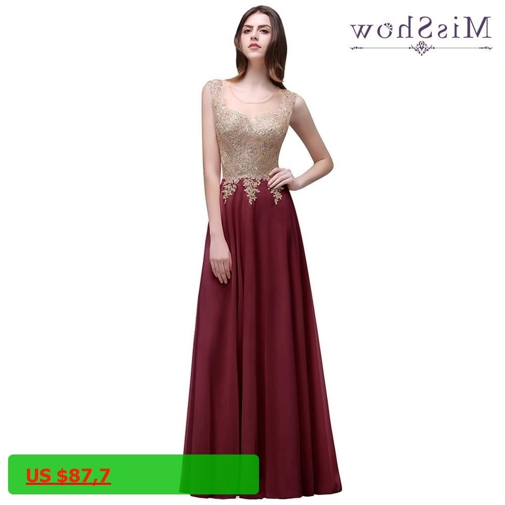 Cheap Women Long Evening Dresses Appliques Burgundy christmas dress ...