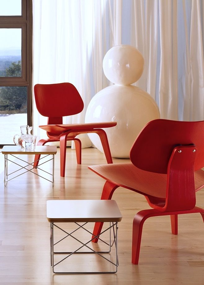 Via Hermann Miller | Eames Lcw Chair and Ltr Table | Red