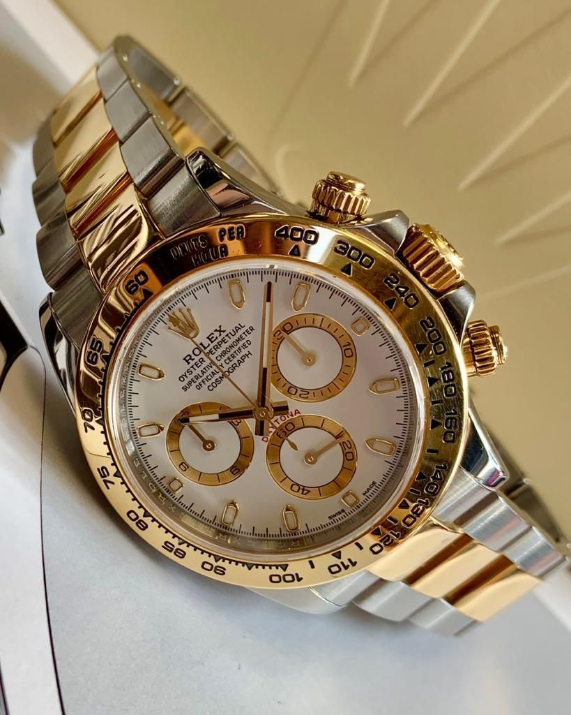 Preowned Rolex Daytona Steel & Yellow Gold White Dial 116503
