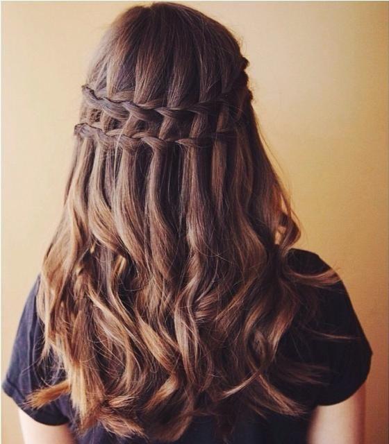 Double Waterfall Curls Waterfall Braid Hairstyle Hair Styles Cool Braid Hairstyles