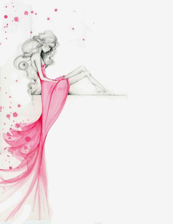 Las mujeres de ilustración de moda fina impresión del Giclee