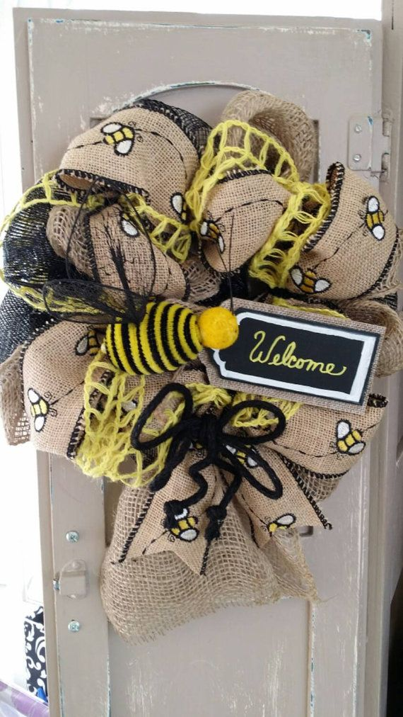 Bee Decor Burlap Wreath Small Welcome Honey Bumble Sign Chalkboard Tag Kitchen Summer Deco Mesh