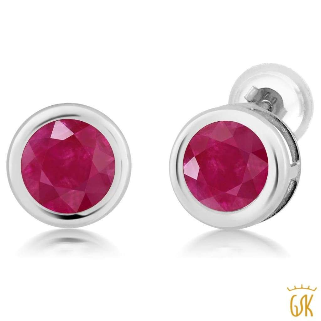 995498542 2.10 Ct Round 6mm Red Ruby 14K White Gold Stud Earrings | Products ...