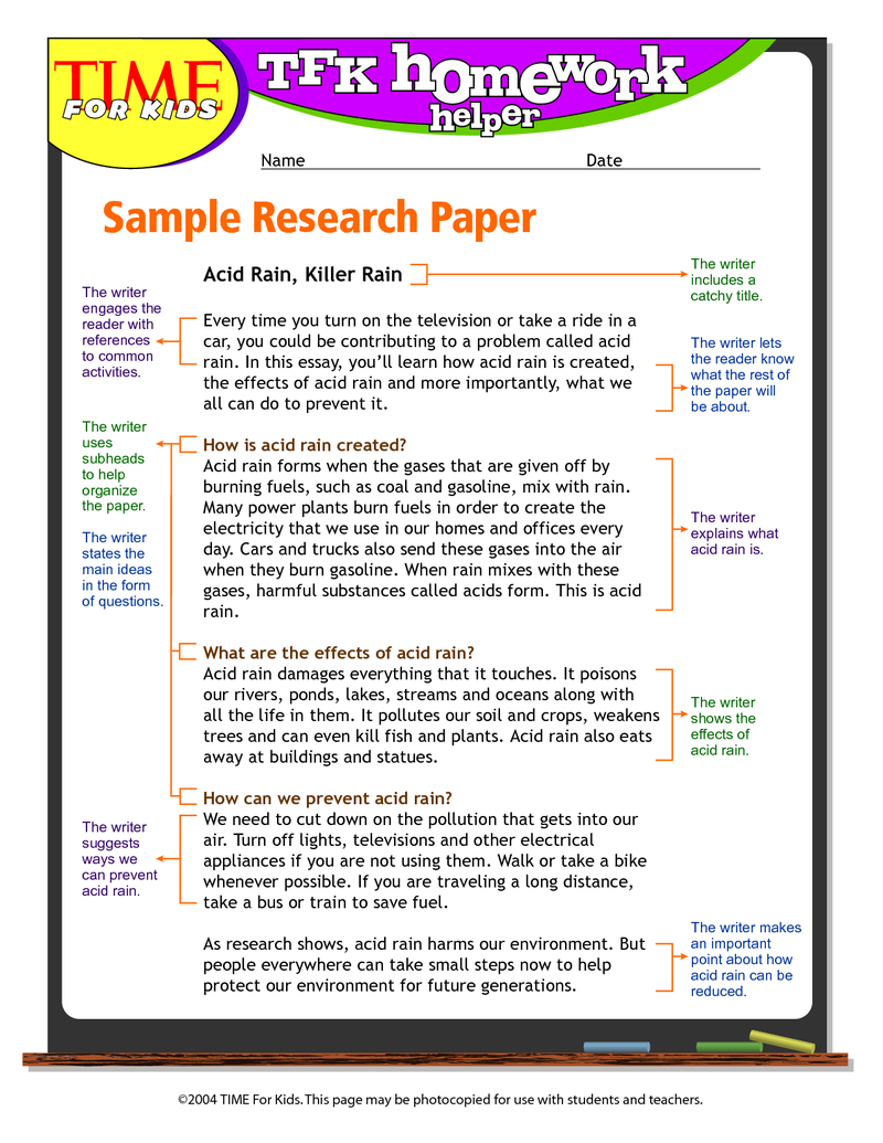 Page 1 Research Paper Sample 5th Grade Research Paper