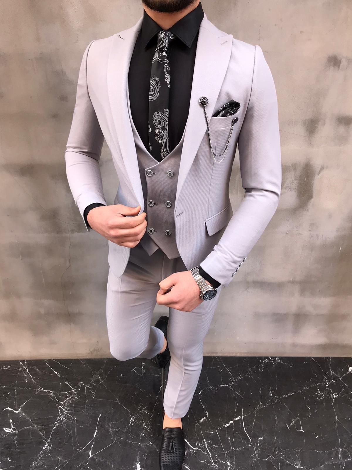 Livonia Light Gray Slim Fit Wool Suit in 2020 Mens