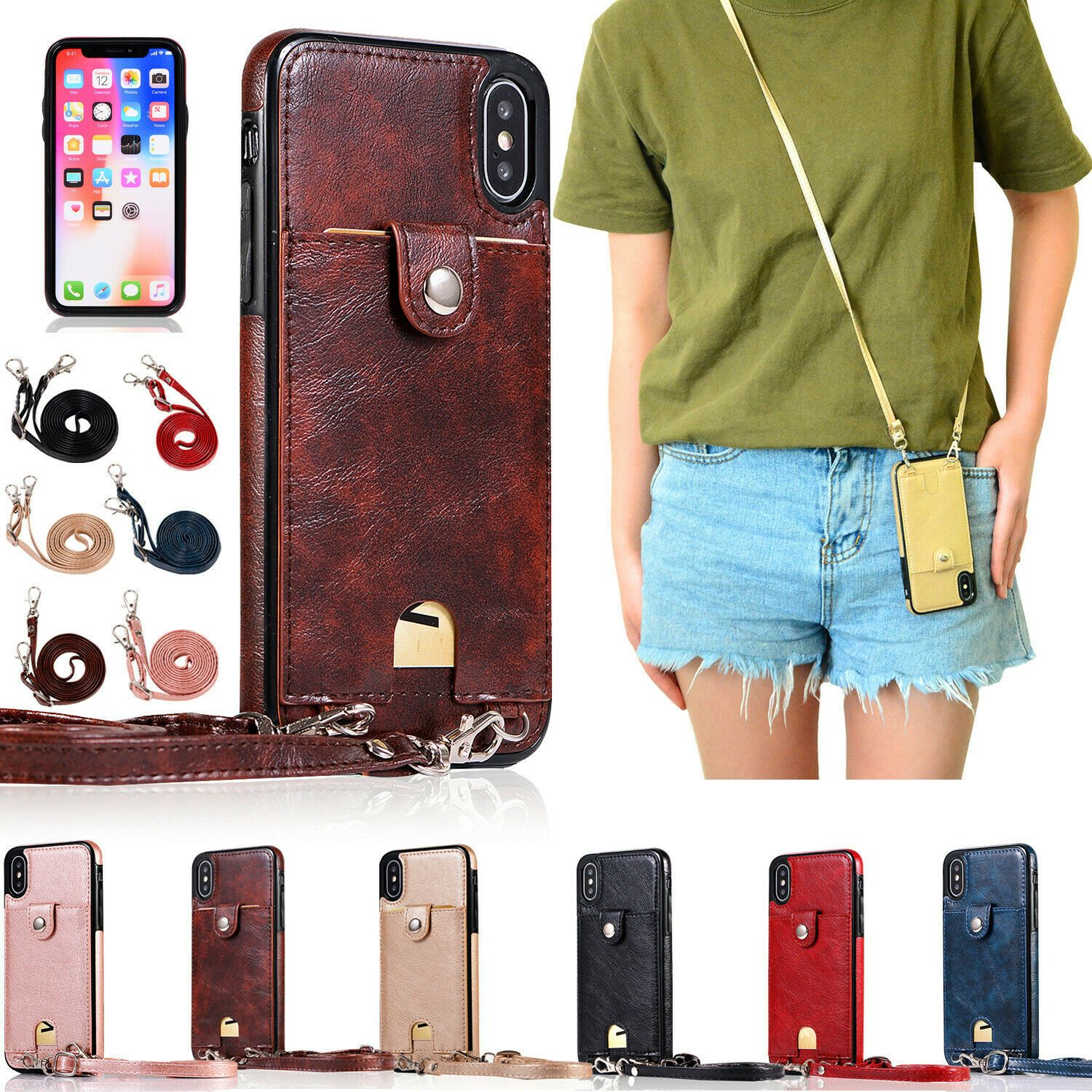 For iPhone XS Max XR X 8 7 6Plus Soft Purse Card Case