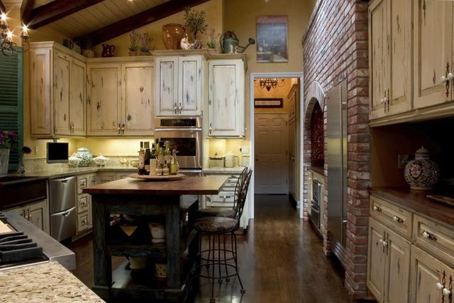 An earthy French Country kitchen.