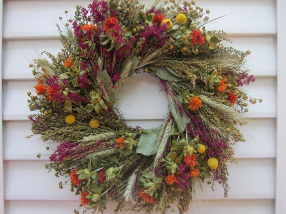 Fall Dried Flower Wreath Mixed Flowers In Autumn Colors Etsy Dried Flower Wreaths Dried Flowers Flower Wreath