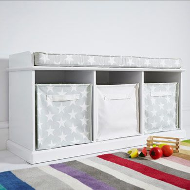 Abbeville Storage Bench White With Grey Star Cushion Toy
