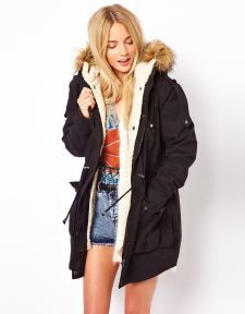 Fur Hooded Detachable Lined Parka at ASOS