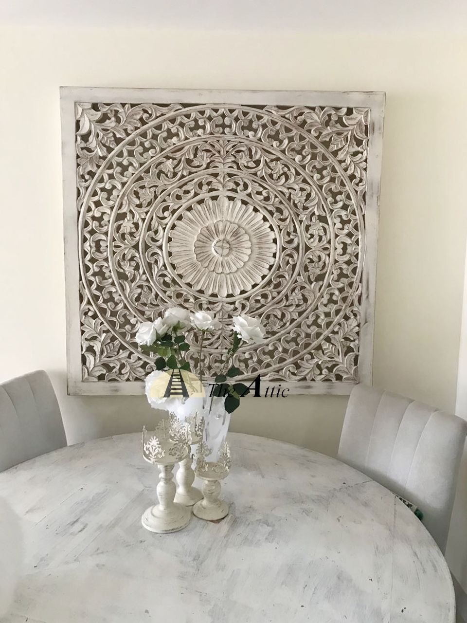 Carved ornate wall panel white xcm shabby chic hand made