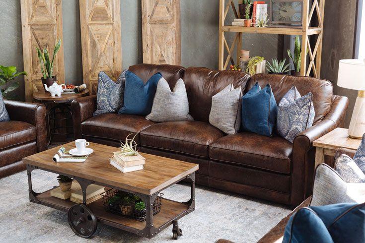 Palermo Leather Sofa By Simon Li Farmhouse End Tables Farmhouse