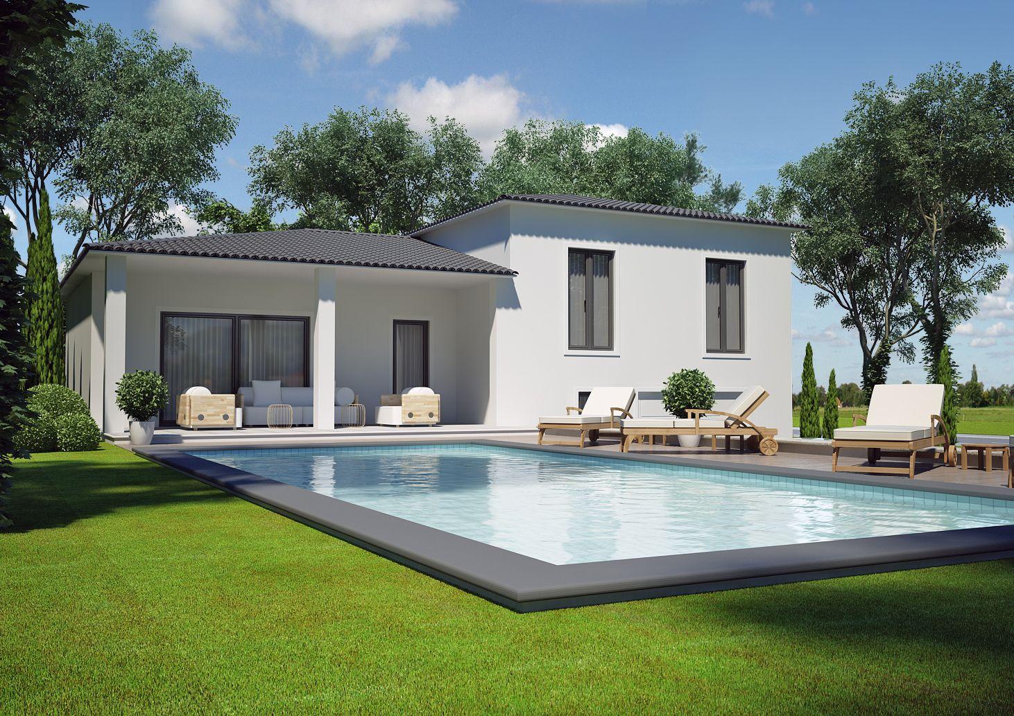 Modèle villa contemporaine 100m2 demi étage agate azur logement provençal