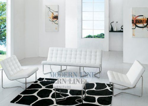 Fantastic Modern White Leather Sofa Two Chairs And Ottoman By Modern Squirreltailoven Fun Painted Chair Ideas Images Squirreltailovenorg