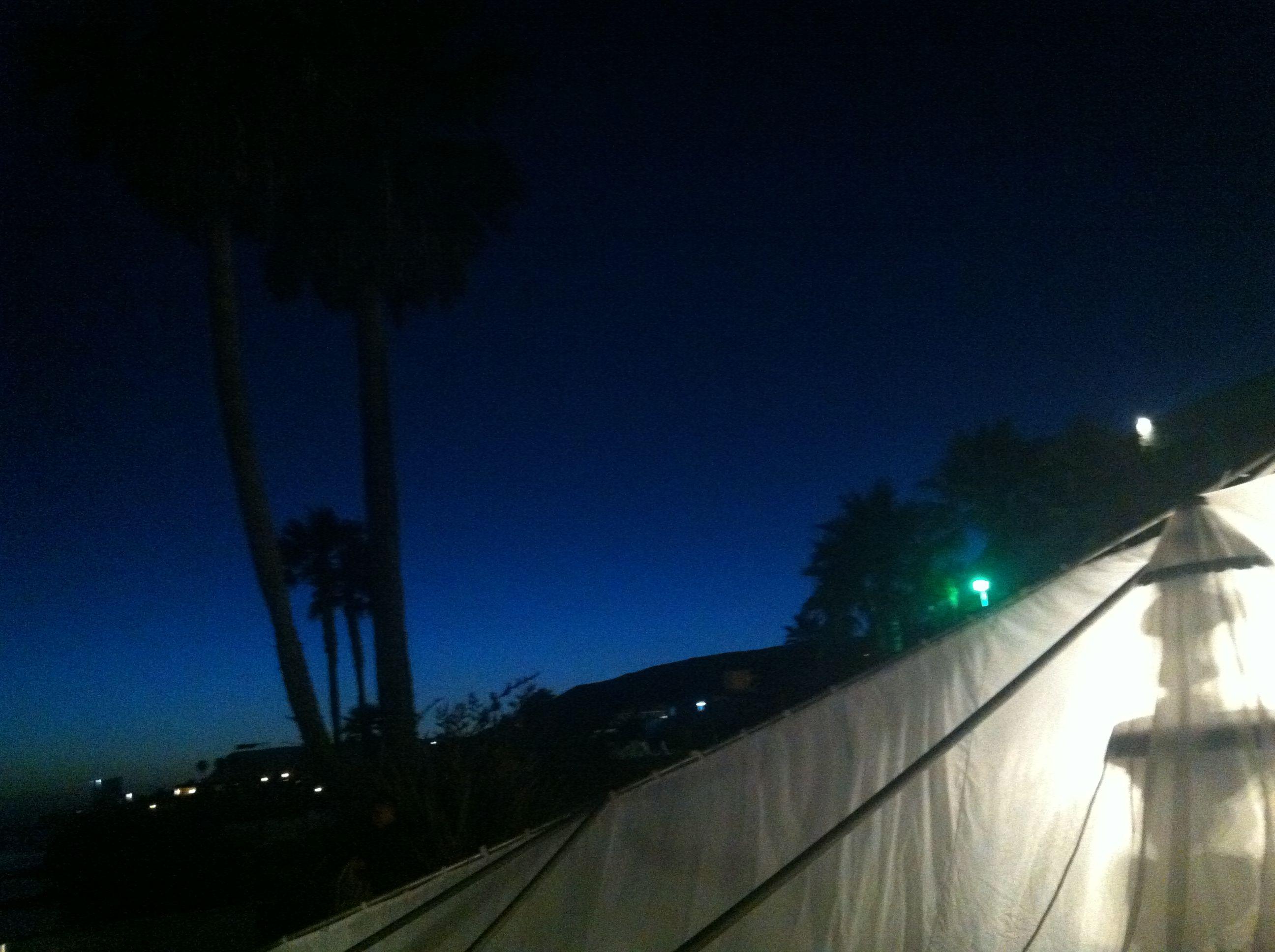 Baja, Las Rocas Resort, Wedding Tent installation at dusk.