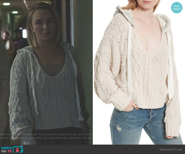 8957f44f821649 Juliette s white cable knit hoodie on Nashville. Outfit Details  https    wornontv