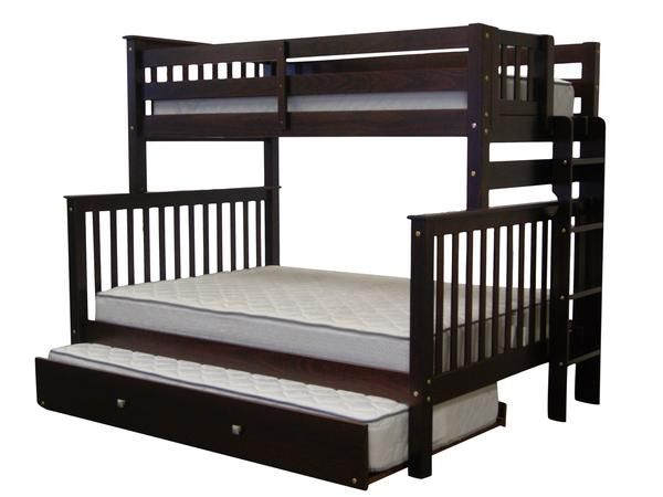 Bunk Beds Twin Over Full End Ladder Cappuccino Trundle Modern