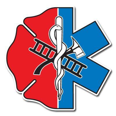 Half Maltese Cross / Half Star of Life Reflective Decal | Fire ...