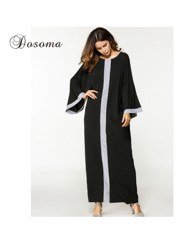 9afadd5760 Casual Muslim Abaya Maxi Dress Long Sleeve Robe Gowns Loose Style Moroccan  Burka Kaftan Hijab Islami