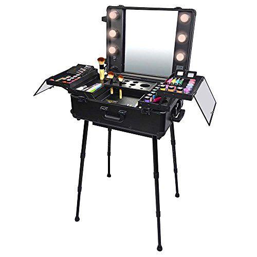 Amazon Com Nyx Makeup Artist Train Case With Lights Extra Large Black Silver 1 Ounce Portable Makeup Station Maleta De Maquillaje Vanidades Maquillaje