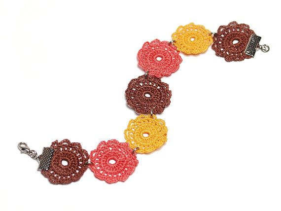 Crochet Lace Boho Chic Bracelet in Brown Peach by PinaraDesign. The crochet motifs that I made for this lovely bracelet is inspired from Hatayi tile motifs of Rustem Pasa Mosque at Istanbul.