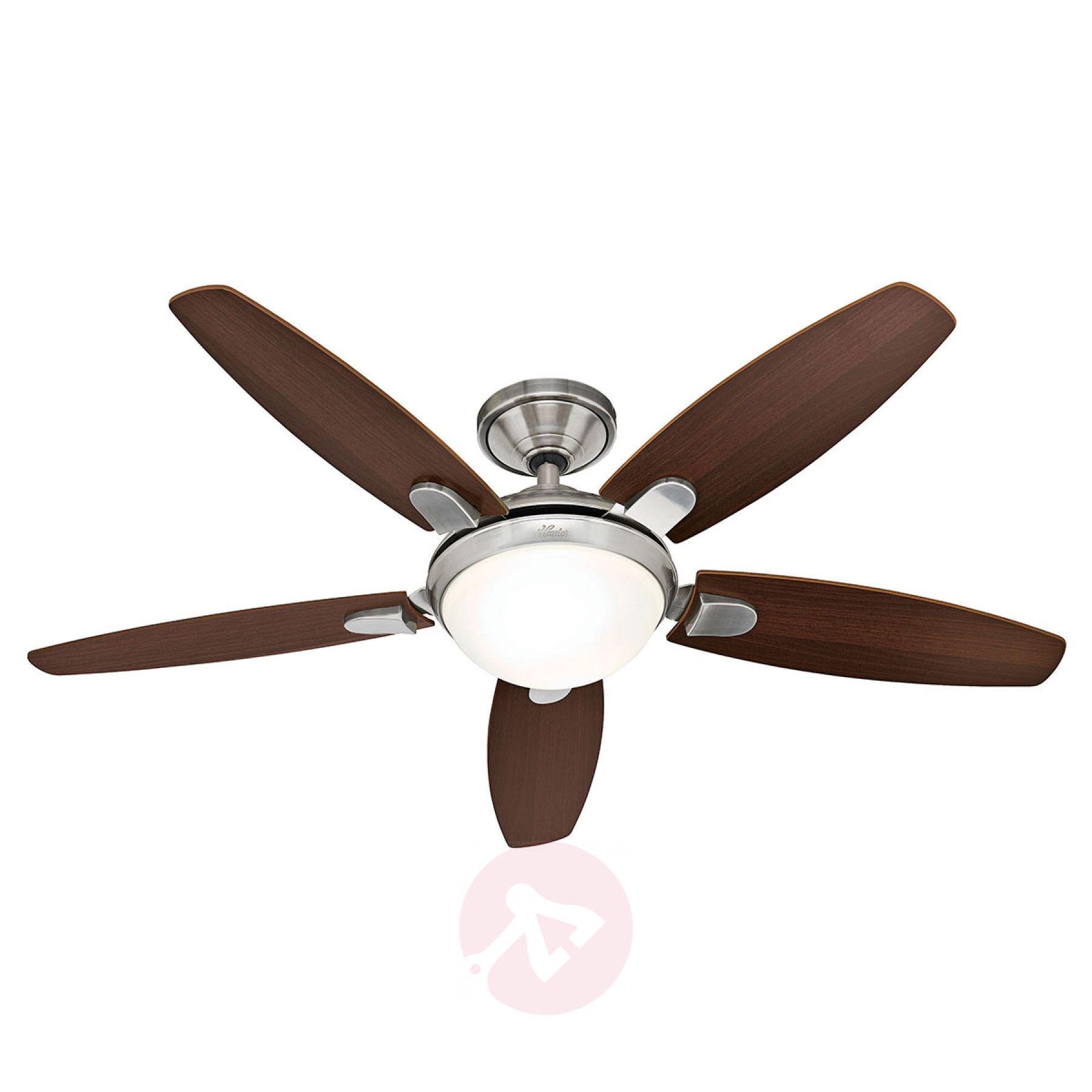 Https Cdn Lampenwelt Ch Image 1800x Hunter Contempo Ventilator Leuchte Walnuss Kirsch 4545045 31 Jpg In 2020 Ceiling Fan Brushed Nickel Ceiling Fan Fan Light