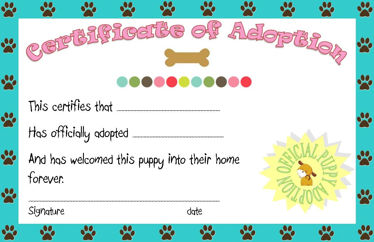 Puppy party adoption certificate printable angie for Dog show certificate template