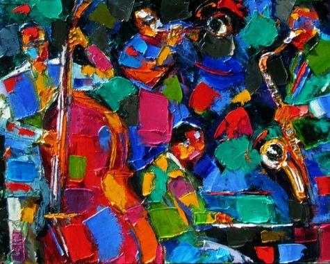 Resumen Jazz arte de la pintura pinturas textura de música por Debra Hurd, pintura original del artista Debra Hurd   DailyPainters.com